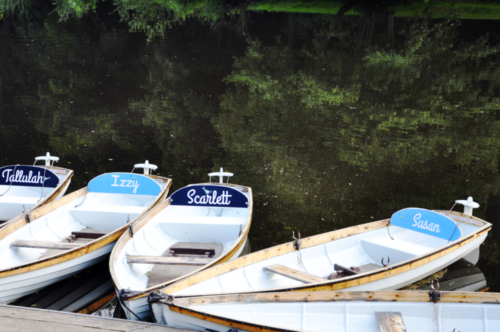 Boats on River Nidd, Knaresborough, North Yorkshire, UK 2020