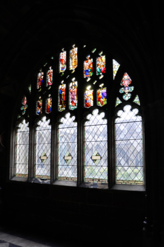 Stained Glass in Worcester's Cathedral Cloisters, Worcestershire, UK 2018